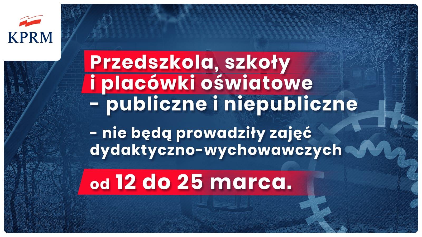 Zamknięcie szkół, przedszkoli, żłobków do 25 marca