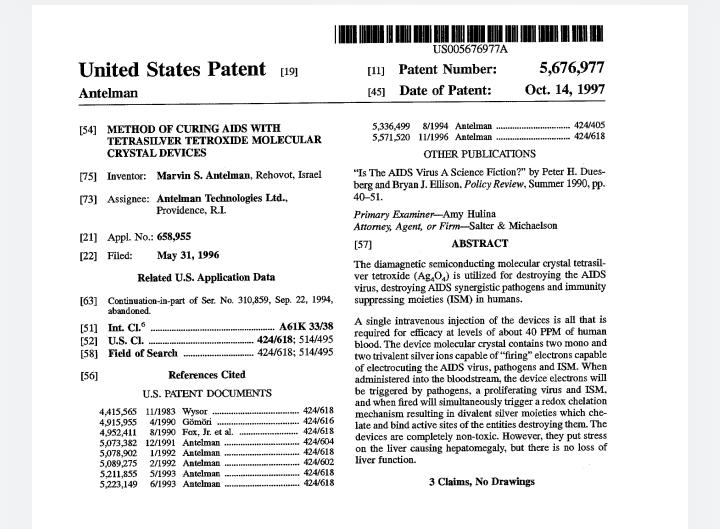 AIDS- zastrzyk, który niszczy wirus! Odtrutka! Dokumentacja patentu!