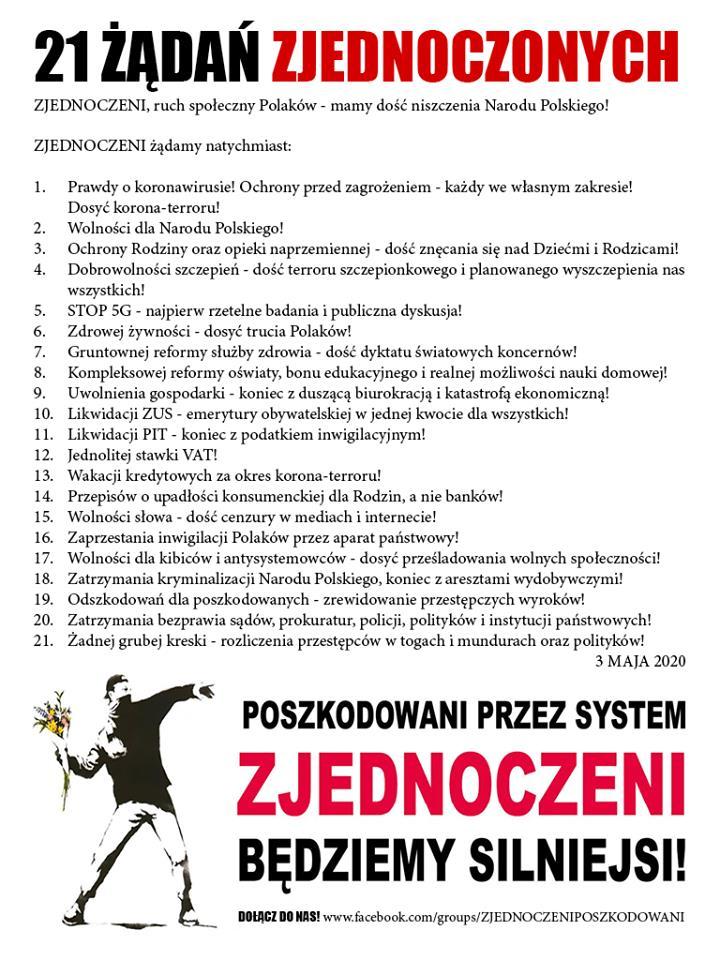 21 żądań Zjednoczonych!