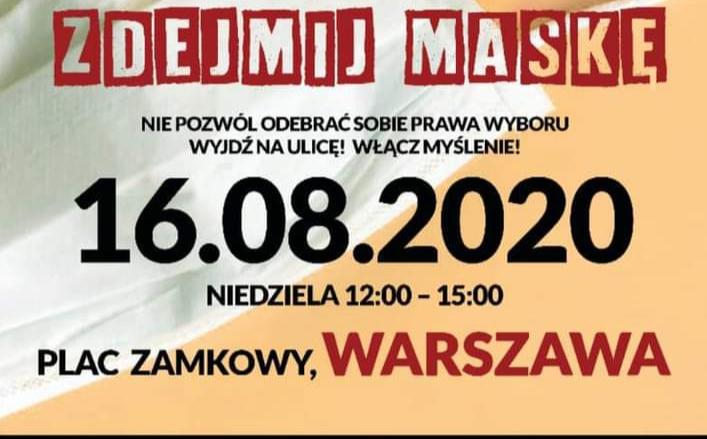 """16 sierpnia protest """"ODWOŁUJEMY PLANDEMIĘ""""! Zdejmij maskę!"""
